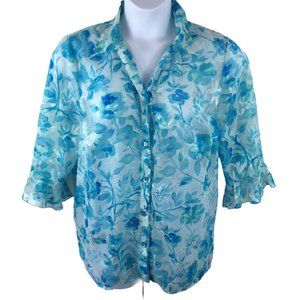 Maggie Barnes Sheer Blue Floral Blouse, Size 18W